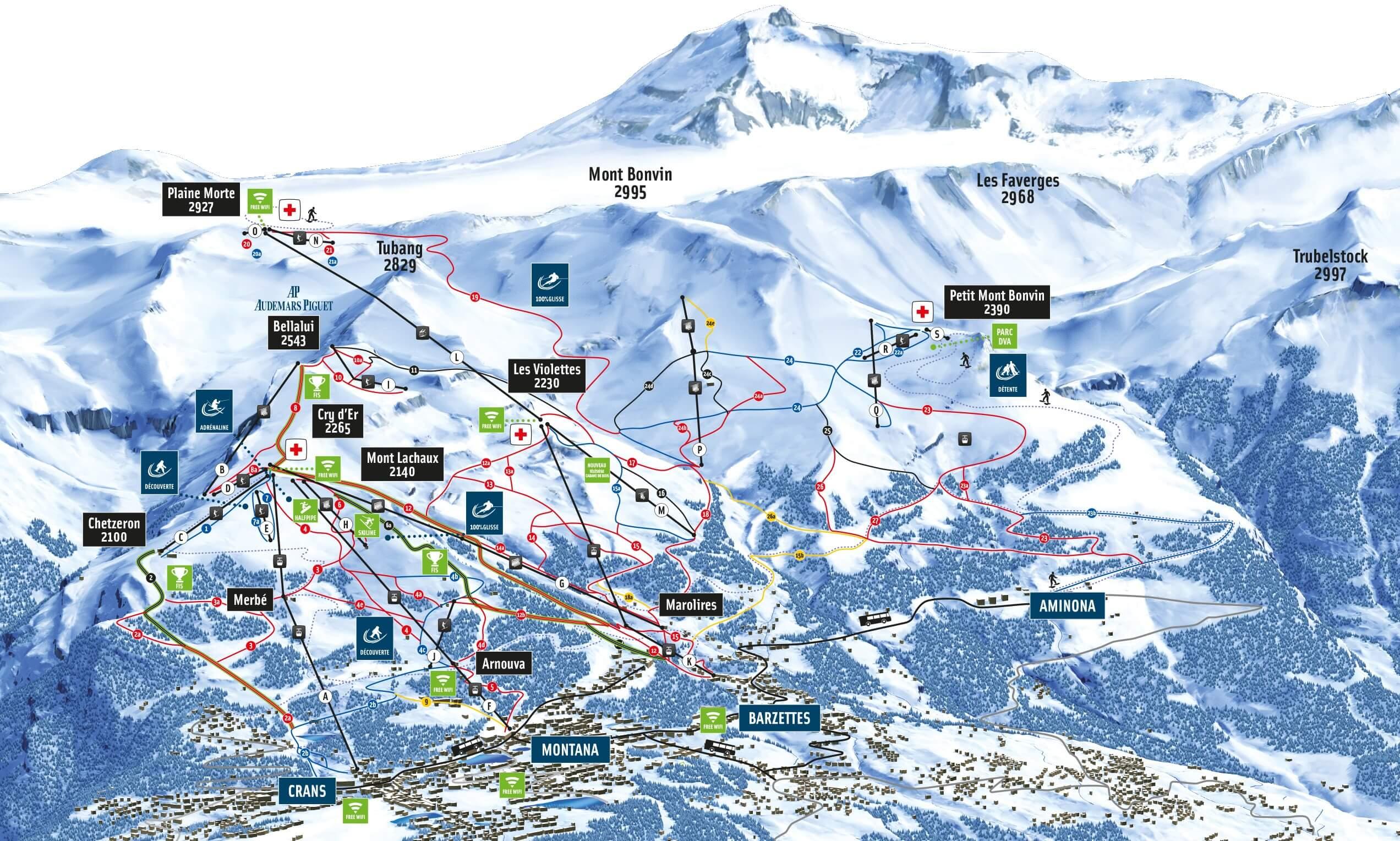 Ski resort Crans Montana Slopes TopSkiResortcom