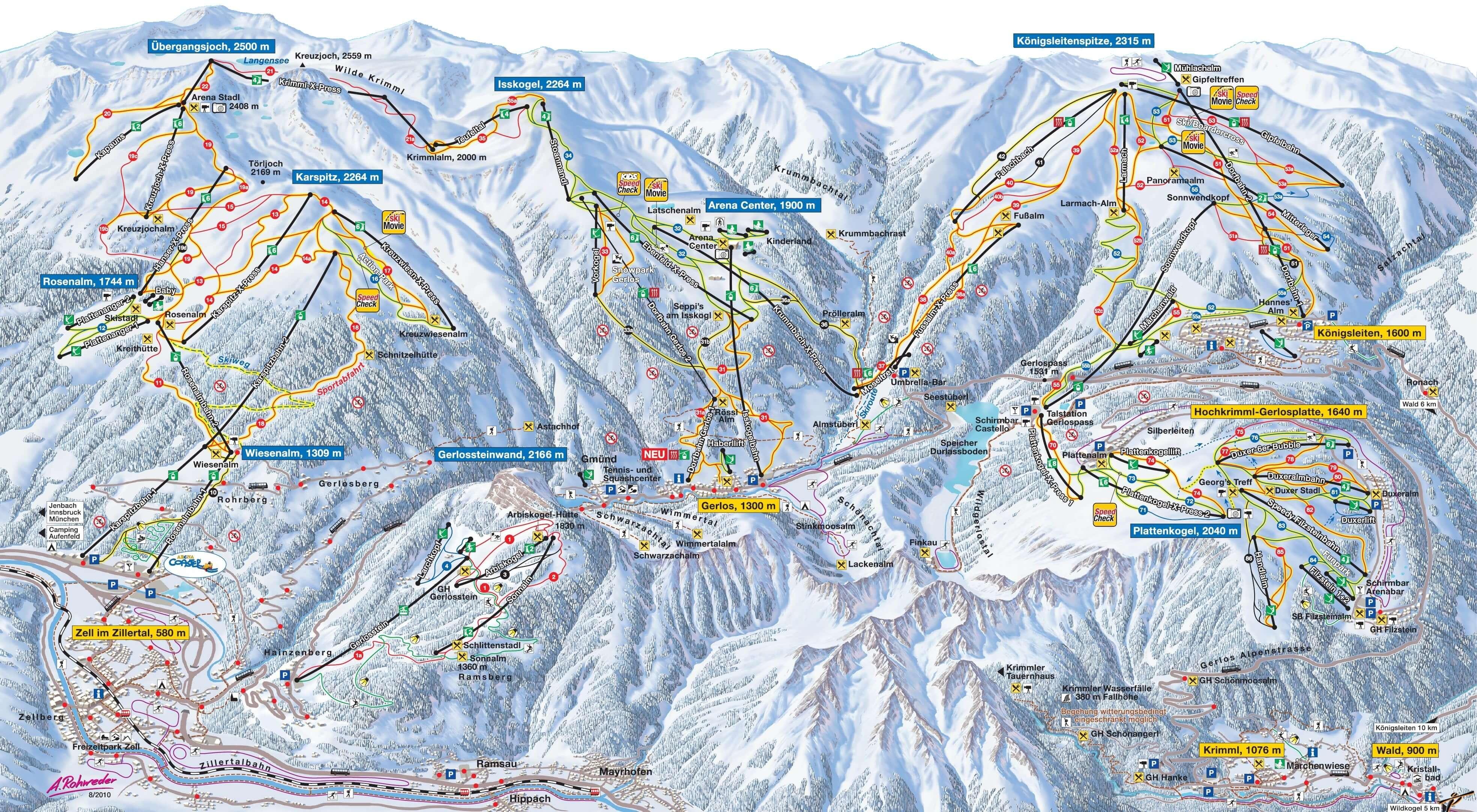 Схема трасс долины циллерталь